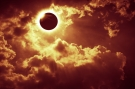 Scientific natural phenomenon. Total solar eclipse with diamond ring effect.